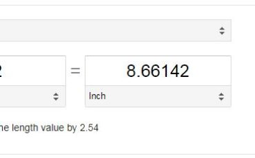Convert 22cm to inches